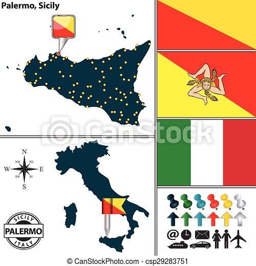 Mapa De Sicilia Italia.Mapa De Sicilia Italia El Mapa Vector De La Region De