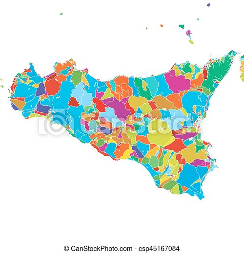 picture relating to Printable Map of Sicily known as Sicily Island, Italy, Colourful Vector Map