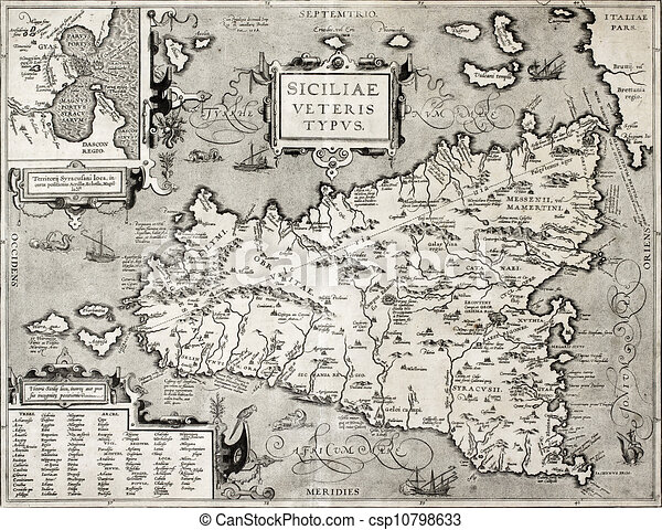 Sicily old map with syracuse detail antique map of sicily sicily old map with syracuse detail csp10798633 gumiabroncs Image collections