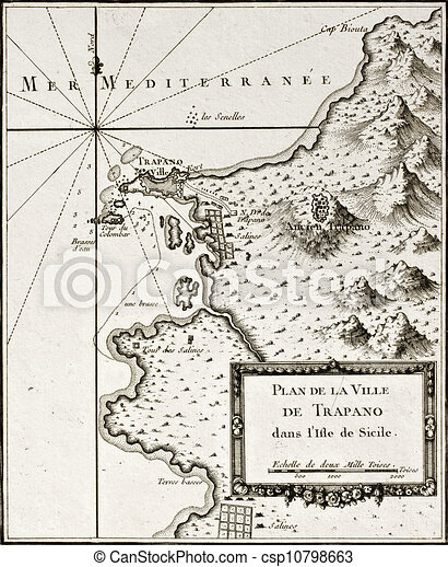 Sicily old map with syracuse detail An old map of trapani stock