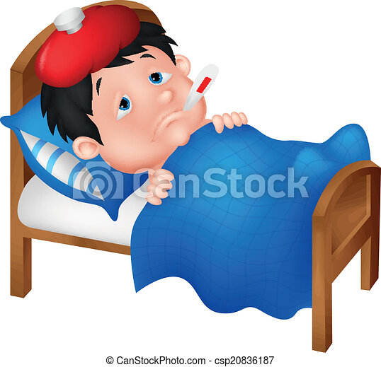Sick boy cartoon lying in bed  - csp20836187