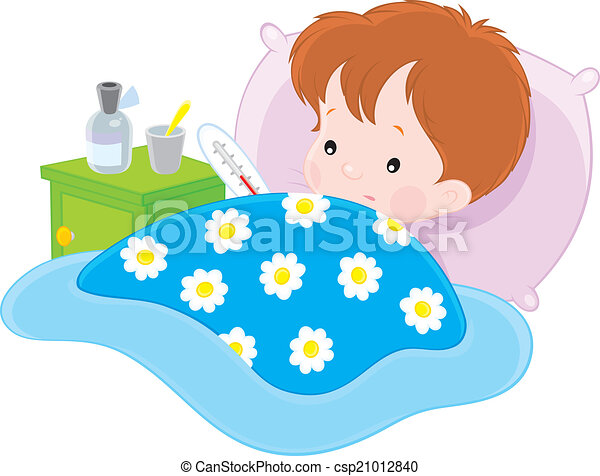 Sick boy ill boy with a thermometer lying in his bed sick boy csp21012840 thecheapjerseys Choice Image