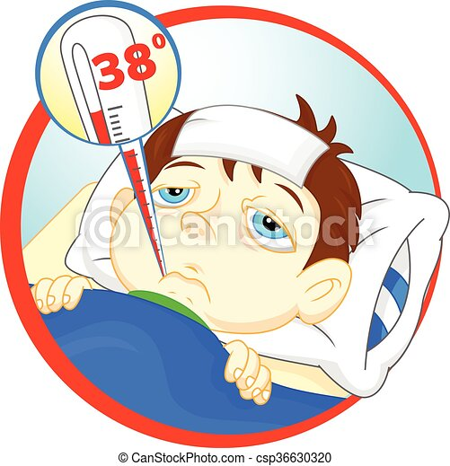 Sick Boy With A Fever Sick Boy In Bed With Symptoms Of