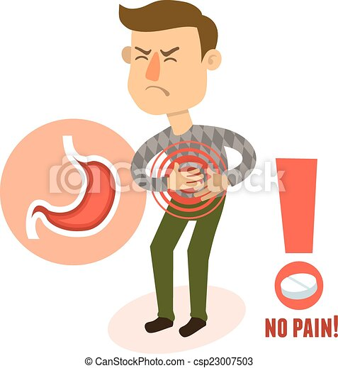 Sick character stomach ache - csp23007503