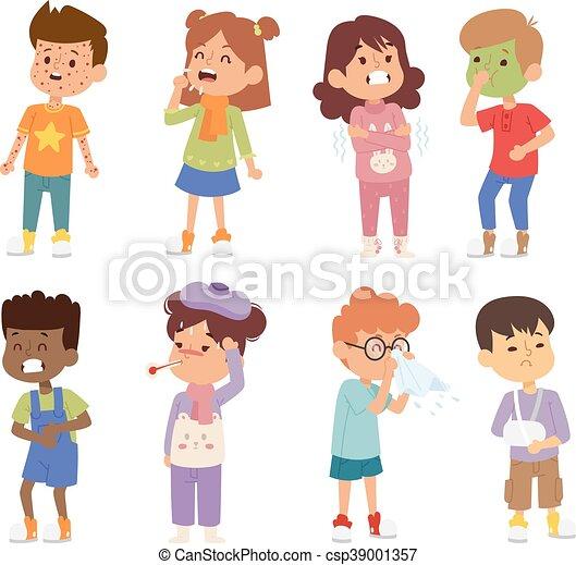 Sick children vector set. Children sick sickness disease ...