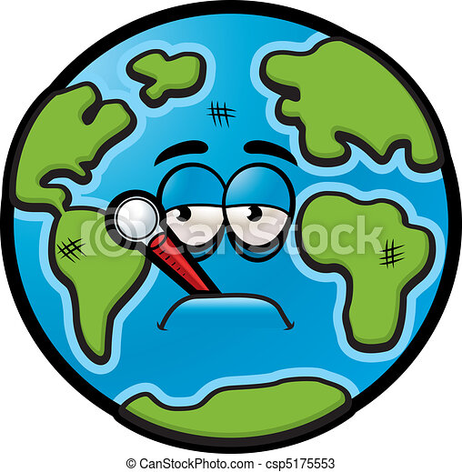 sick earth a sick cartoon earth with a thermometer in his mouth