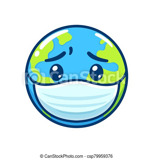 Sick Earth in face mask - csp79959376