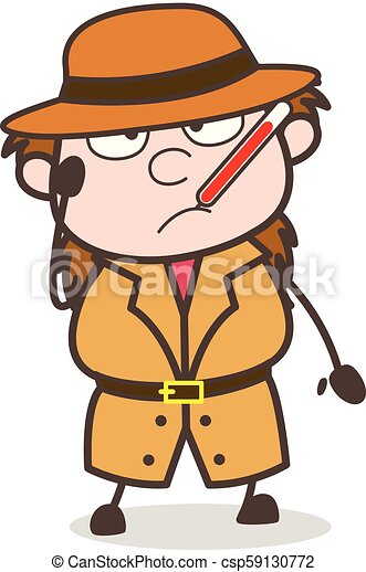 Sick Face with Fever Thermometer - Female Explorer Scientist Cartoon Vector  - csp59130772 fd8214430d8
