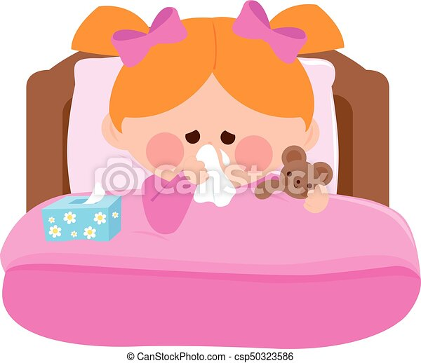 Sick girl in bed little girl blowing her nose lying sick for Cama animada