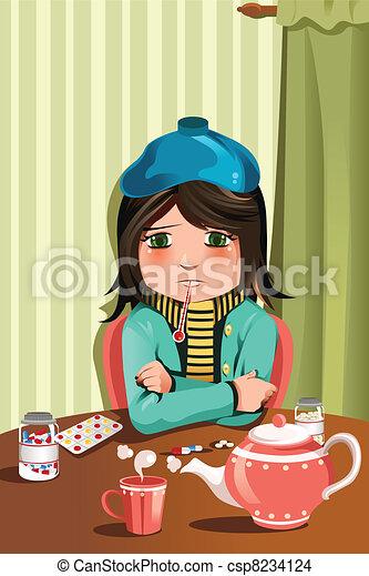 Sick little girl - csp8234124