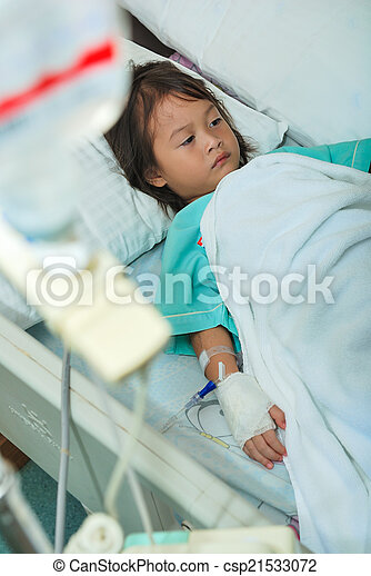 Sick Little Girl In Hospital Bed   Csp21533072