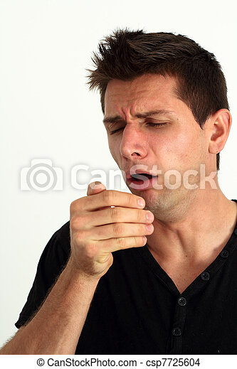 Sick man coughing into he's hand - csp7725604