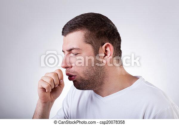 Sick man having a cough - csp20078358