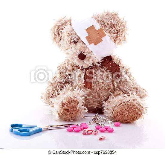 Sick Teddy with first aid over white background - csp7638854