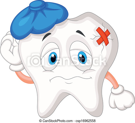 Sick tooth cartoon - csp16962558