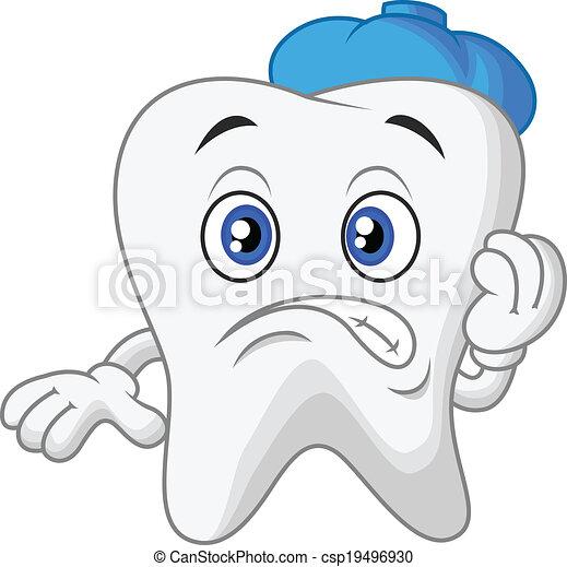 Sick tooth cartoon - csp19496930