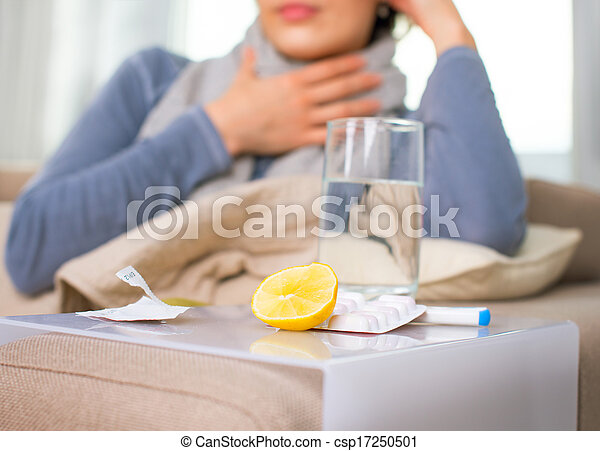 Sick Woman. Flu. Woman Caught Cold - csp17250501