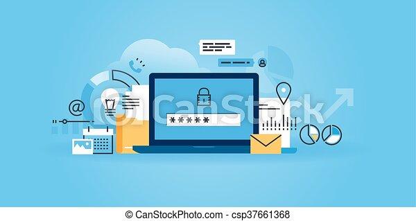 sicurezza, protezione, dati, linea - csp37661368