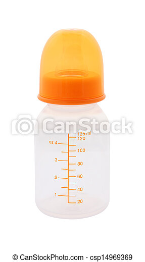 Side baby milk bottle with cap on white background. - csp14969369