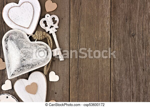 Side Border Of White And Silver Hearts Love Themed Decor On A Rustic Wooden Background