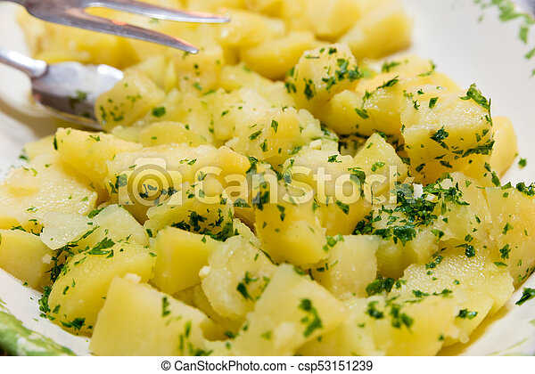 Side dish of boiled potatoes with parsley - csp53151239