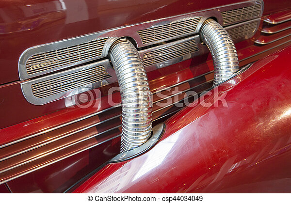 Side Exhaust Pipes On A Classic Luxury Car Side Exhaust Pipes
