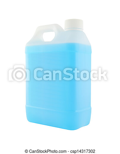 Side plastic gallon with blue liquid on white background. - csp14317302