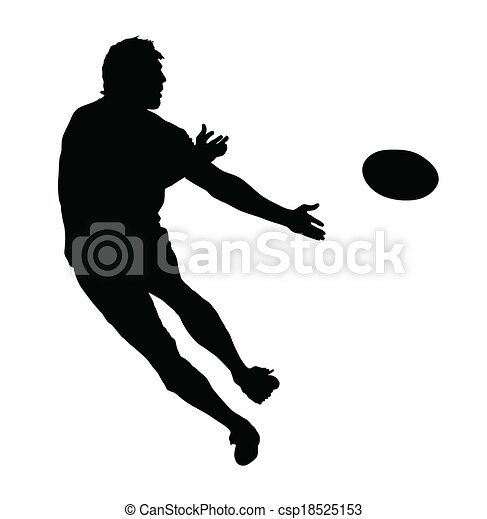 Side Profile of Rugby Speedster Passing the Ball - csp18525153