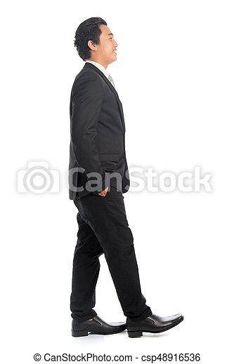 Side View Asian Male Walking Full Body Side View Of Attractive Young Southeast Asian Businessman Walking Isolated On White