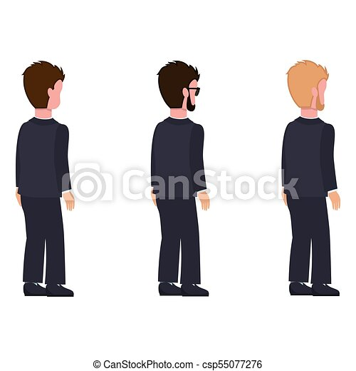 Side View Males Flat Style Man Constructor Set Side View Males