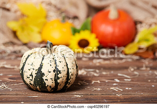 Side view of a green pumpkin on a wooden table - csp40296197