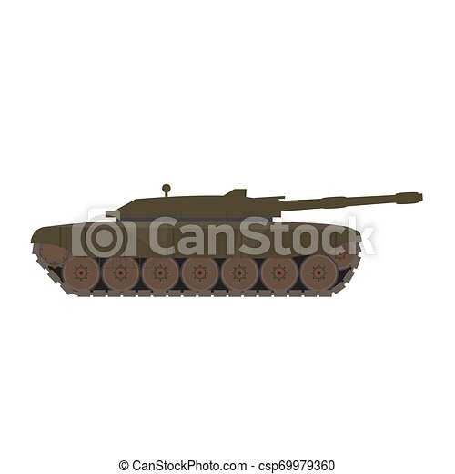 Side view of a military war tank - csp69979360