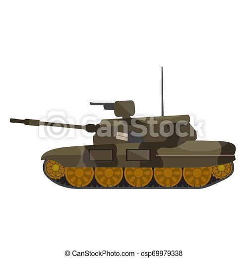Side view of a military war tank - csp69979338