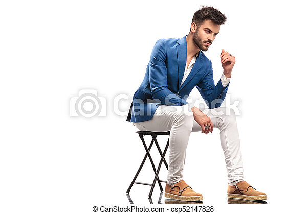 Outstanding Side View Of A Pensive Elegant Man Sitting On Chair Caraccident5 Cool Chair Designs And Ideas Caraccident5Info