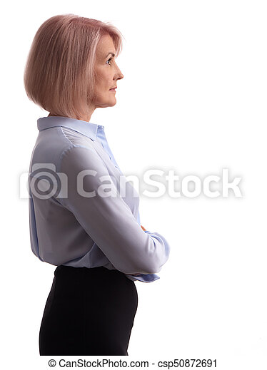 side view of an old business woman - csp50872691