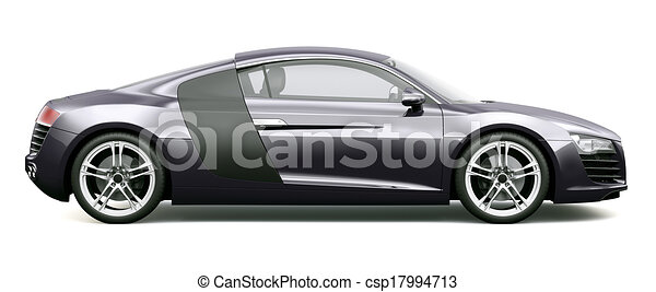 Side View Of Black Sports Car On A White Background