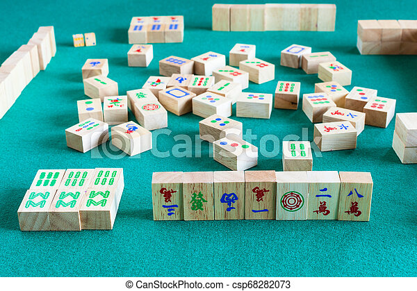 Side View Of Gameboard Of Mahjong Game