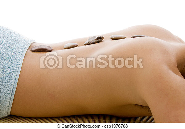 side view of man lying down for spa treatment - csp1376708