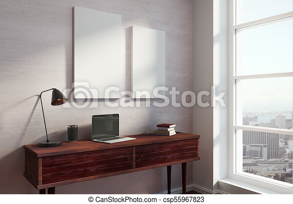 Clip art of the modern office interior k search clipart