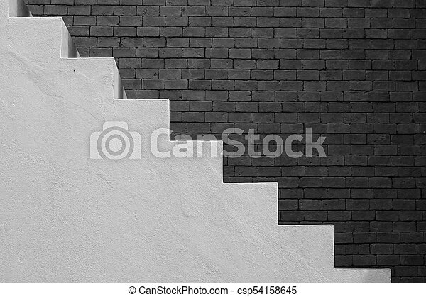 Side View Of White Empty Stairs With Brown Brick Wall Background In Vintage Style Black And Filter Effect