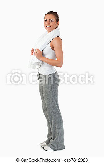 Side view of young woman after workout - csp7812923