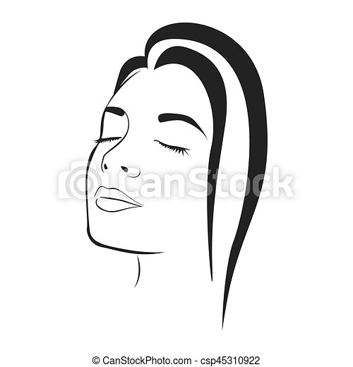 side view sketch female face silhouette vector