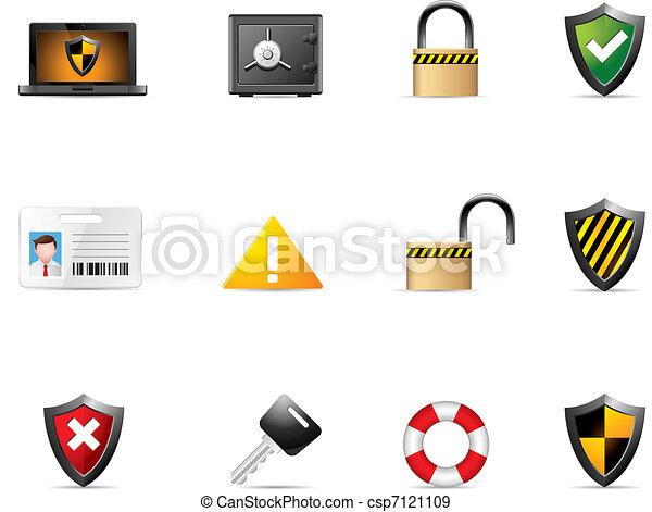 sieć, bezpieczeństwo, -, ikony - csp7121109