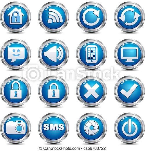 sieć, komplet, &, -, umiejscawiać, dwa, internetowa ikona - csp6783722