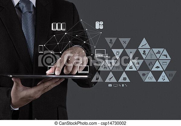 sieć, pracujący, pokaz, nowoczesny, komputer, biznesmen, nowy, budowa, towarzyski - csp14730002