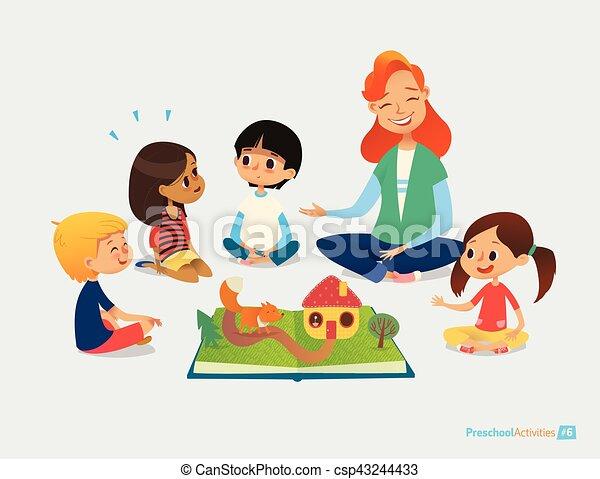Kinder sitzen im kreis clipart  Vektoren von sie., plakat, education., weibliche , kinder, sitzen ...