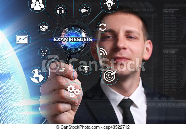 sieht, prüfung, arbeitende , inscription:, concept., ergebnisse, virtuell, junger, zukunft, internet, geschäftsmann, technologie, geschaeftswelt, schirm, vernetzung - csp43522712
