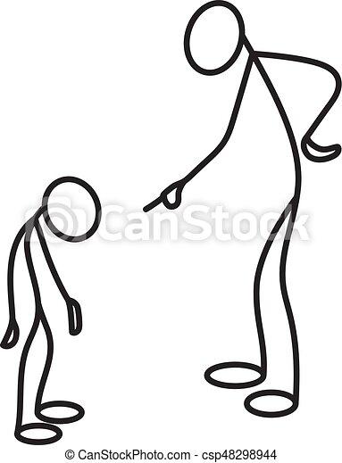 sien, figure, réprimande, père, fils, crosse - csp48298944