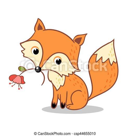 Sien fleur renard mouth tenue mignon animaux clipart vectoris recherchez - Queue de renard fleur ...