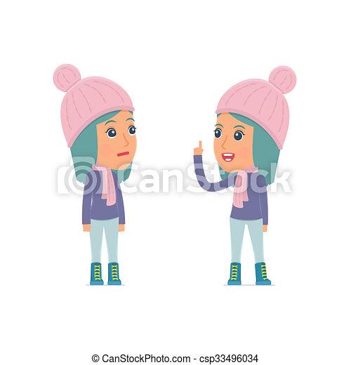 sien, hiver, conseil, caractère, apprend, girl, intelligent, ami, donne - csp33496034